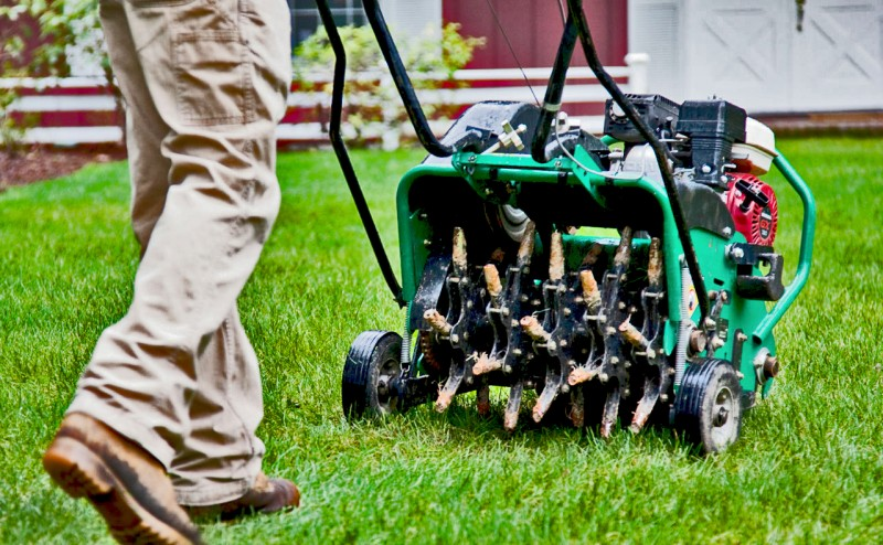 Aerator on Lawn - LawnMate Quality Lawn Care